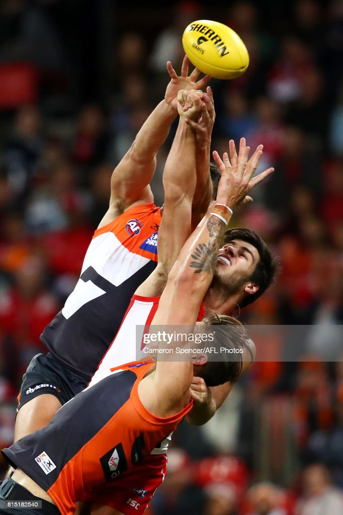 Lewis Melican attempts a mark during the round 17 AFL match between the Greater Western Sydney Giants and the Sydney Swans at Spotless Stadium on July 15, 2017 in Sydney, Australia.