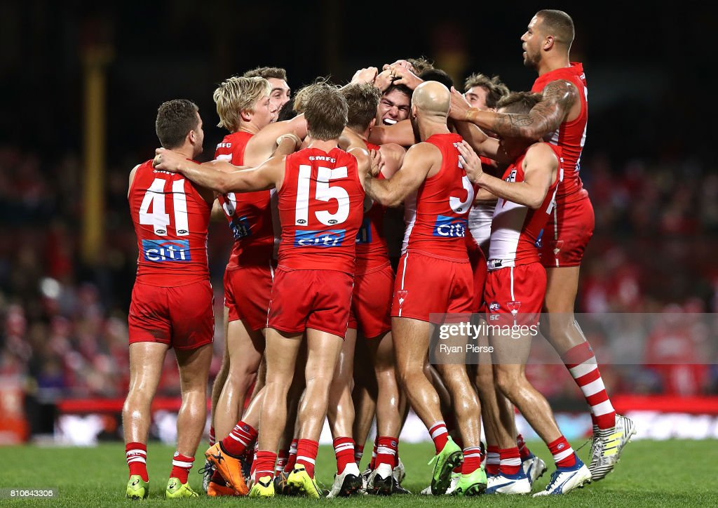Lewis Melican of the Swans celebrates his first AFL goal during the round 16 AFL match between the Sydney Swans and the Gold Coast Suns at Sydney Cricket Ground on July 8, 2017 in Sydney, Australia.