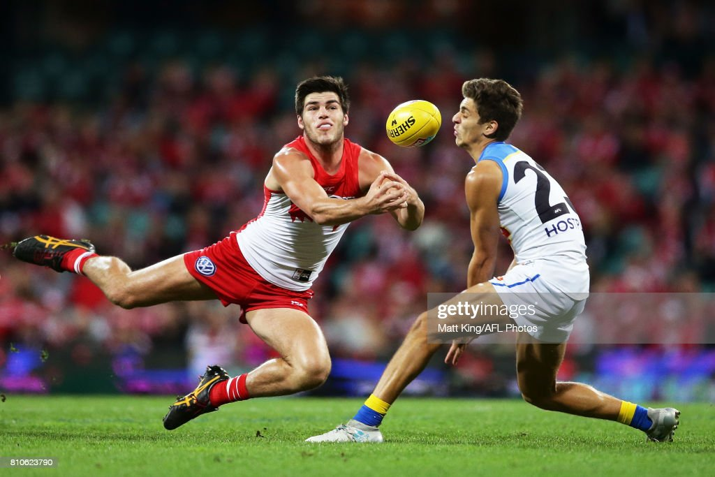 Lewis Melican of the Swans competes for the ball against Sean Lemmens of the Suns during the round 16 AFL match between the Sydney Swans and the Gold Coast Suns at Sydney Cricket Ground on July 8, 2017 in Sydney, Australia.