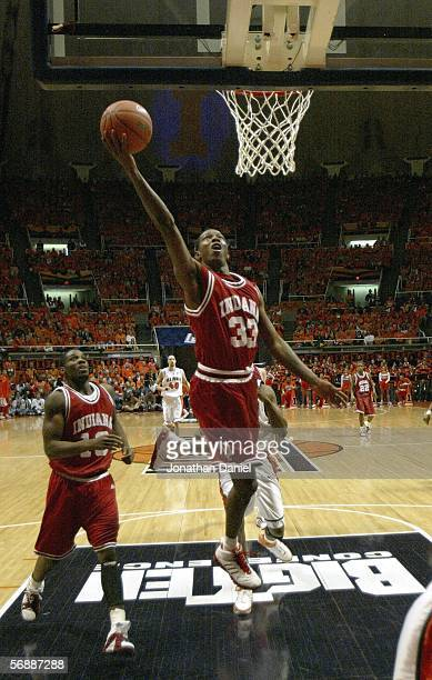 Lewis Monroe of the Indiana Hoosiers lays the ball up against the Illinois Fighting Illini on February 19, 2006 at the Assembly Hall at the...