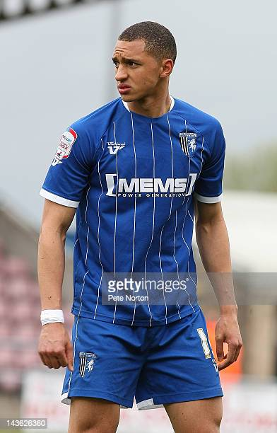 Lewis Montrose of Gillingham in action during the League Two match between Northampton Town and Gillingham at Sixfields Stadium on April 28 2012 in...
