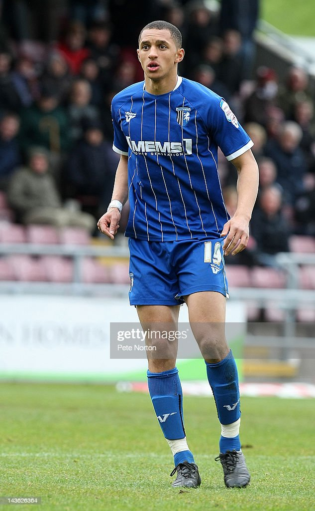 Lewis Montrose of Gillingham in action during the League Two match between Northampton Town and Gillingham at Sixfields Stadium on April 28, 2012 in Northampton, England.