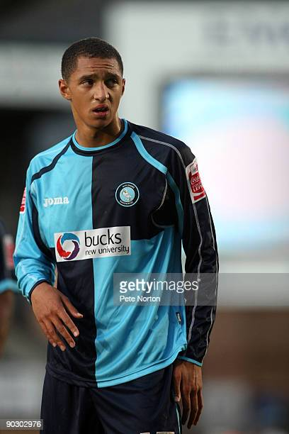 Lewis Montrose of Wycombe Wanderers in action during the Johnstone's Paint Trophy First Round Match between Wycombe Wanderers and Northampton Town at...