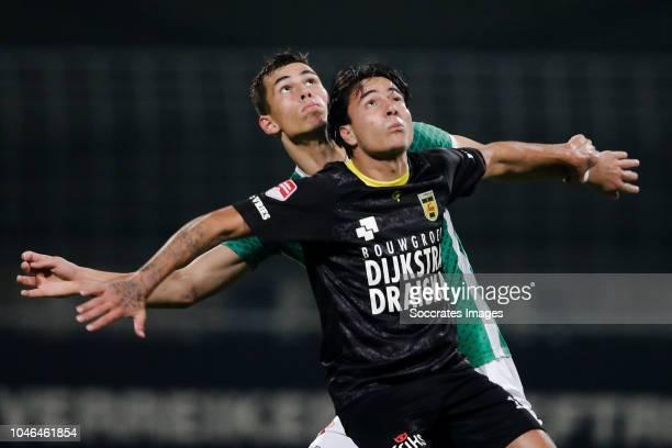 Lewis Montsma of FC Dordrecht, Justin Mathieu of SC Cambuur during the Dutch Keuken Kampioen Divisie match between FC Dordrecht v SC Cambuur at the...