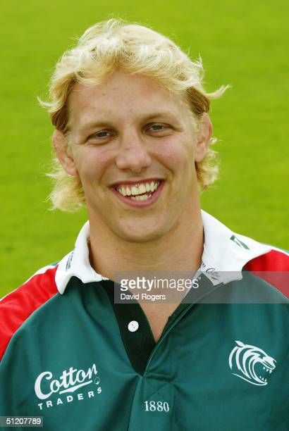 Lewis Moody pictured during the Leicester Tigers Squad Photocall on July 21 2004 at Welford Road Leicester England
