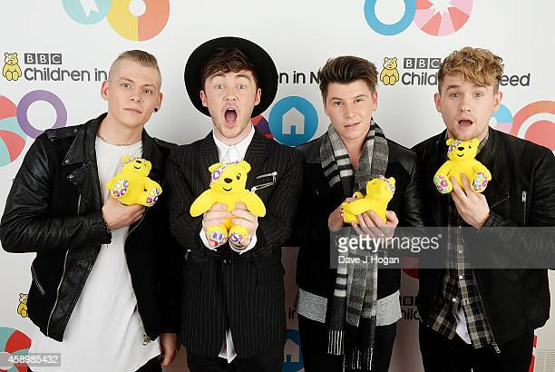 Lewis Morgan Jake Roche Charley Bagnall and Danny Wilkin of Rixton backstage at the Star Bar during BBC Children in Need at Elstree Studios on...