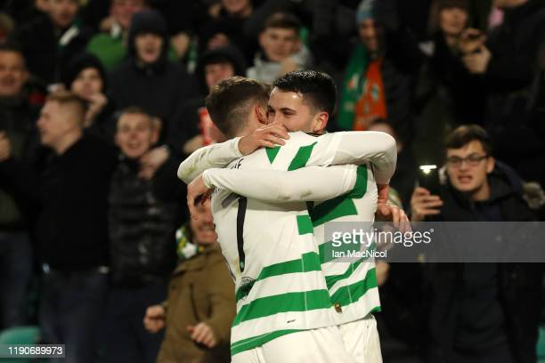Lewis Morgan of Celtic celebrates after he scores his sides first goal during the UEFA Europa League group E match between Celtic FC and Stade Rennes...