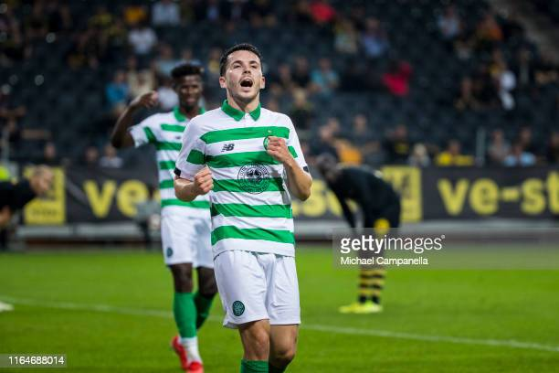 Lewis Morgan of Celtic FC celebrates scoring their 4th goal at the 90th minute during a UEFA Europa League qualification match between AIK and Celtic...