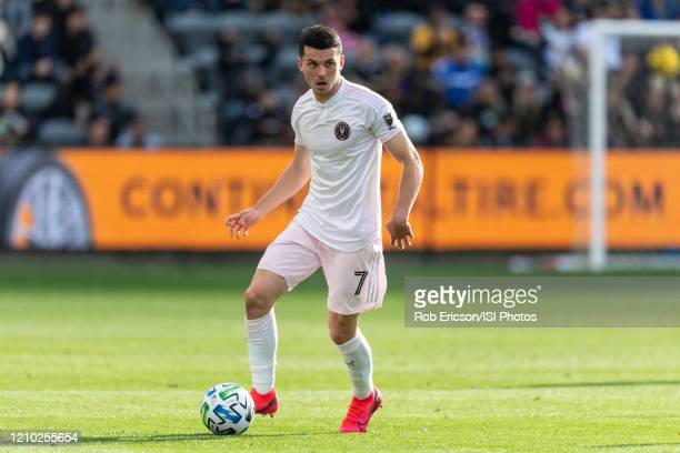 Lewis Morgan of Inter Miami CF advances the ball in a match against LAFC during a game between Inter Miami CF and Los Angeles FC at Banc of...