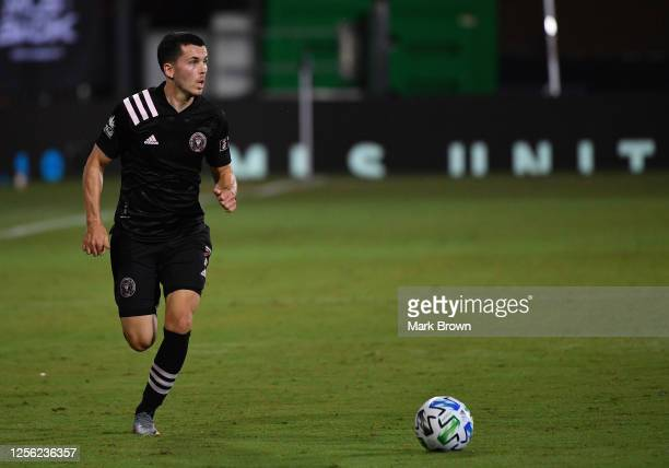 Lewis Morgan of Inter Miami CF brings the ball up the field during a Group A match against Philadelphia Union as part of MLS is Back Tournament at...