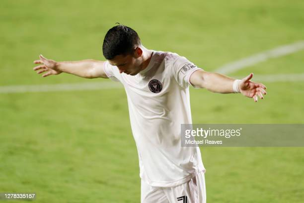 Lewis Morgan of Inter Miami CF celebrates after scoring a goal in the 27th minute against New York City FC at Inter Miami CF Stadium on October 03,...