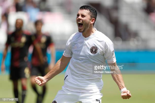 Lewis Morgan of Inter Miami CF celebrates after scoring a goal in the 77' against Atlanta United during the second half at DRV PNK Stadium on May 09,...