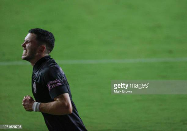 Lewis Morgan of Inter Miami CF celebrates scoring his first goal during a game against Atlanta United FC at Inter Miami CF Stadium on September 09,...