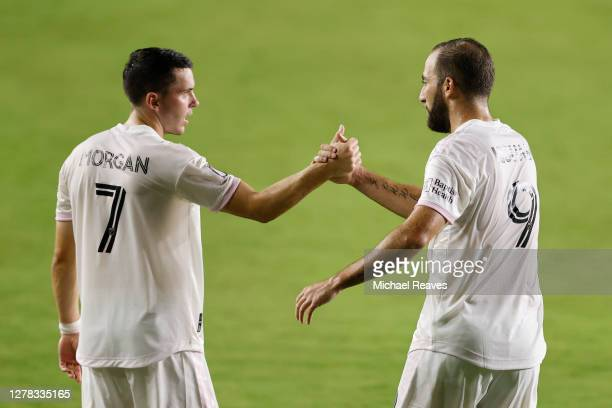 Lewis Morgan of Inter Miami CF celebrates with Gonzalo Higuain after scoring a goal in the 27th minute against New York City FC at Inter Miami CF...