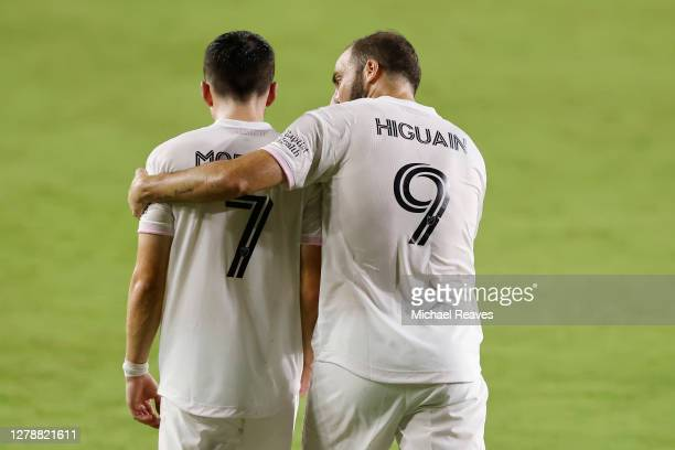 Lewis Morgan of Inter Miami CF celebrates with Gonzalo Higuain after scoring a goal in the 27' against New York City FC at Inter Miami CF Stadium on...