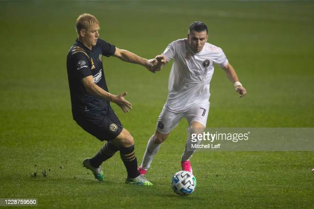 Lewis Morgan of Inter Miami CF controls the ball against Jakob Glesnes of Philadelphia Union in the second half at Subaru Park on September 27, 2020...