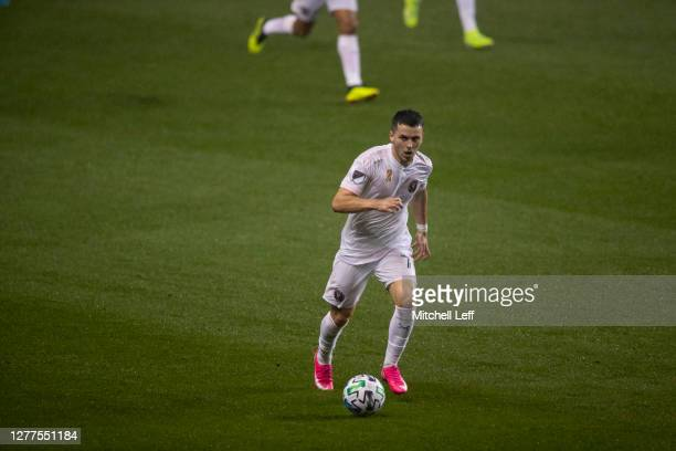 Lewis Morgan of Inter Miami CF controls the ball against the Philadelphia Union at Subaru Park on September 27, 2020 in Chester, Pennsylvania.