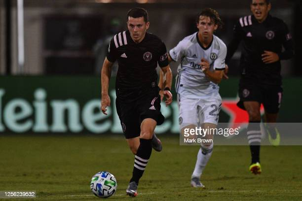 Lewis Morgan of Inter Miami CF controls the ball during a Group A match against Philadelphia Union as part of MLS is Back Tournament at ESPN Wide...