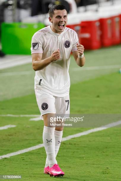 Lewis Morgan of Inter Miami CF reacts after scoring a goal during the 38th minute against New York City FC at Inter Miami CF Stadium on October 03,...