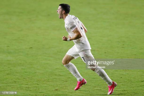 Lewis Morgan of Inter Miami CF reacts after scoring a goal during the 38' against New York City FC at Inter Miami CF Stadium on October 03, 2020 in...