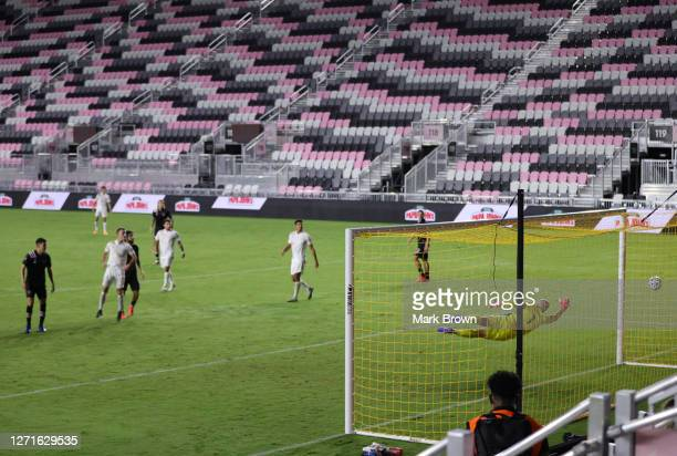 Lewis Morgan of Inter Miami CF scores his second goal during a game against Atlanta United FC at Inter Miami CF Stadium on September 09, 2020 in Fort...