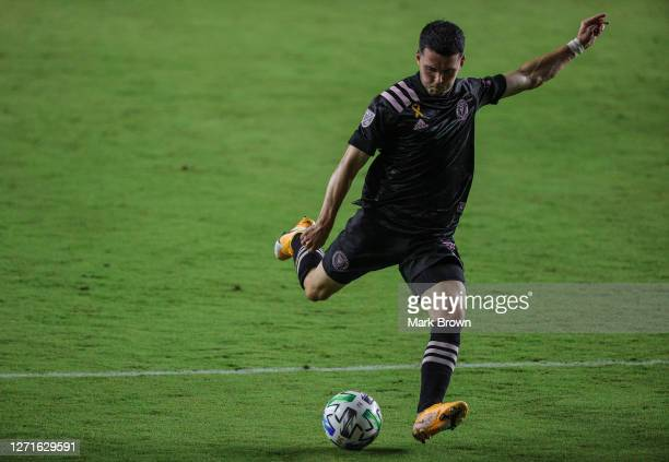 Lewis Morgan of Inter Miami CF shoots the ball during a game against Atlanta United FC at Inter Miami CF Stadium on September 09, 2020 in Fort...