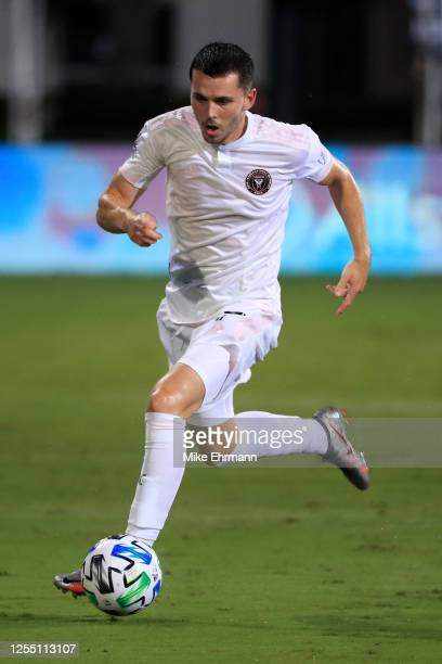 Lewis Morgan of Inter Miami controls the ball during a match between Orlando City and Inter Miami as part of MLS is back Tournament at ESPN Wide...