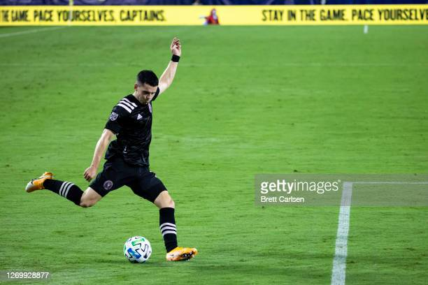 Lewis Morgan of Inter Miami crosses the ball during the second half against the Nashville SC at Nissan Stadium on August 30, 2020 in Nashville,...