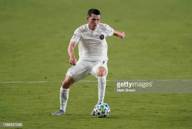 Lewis Morgan of Inter Miami FC controls the ball during a game against Orlando City SC at Inter Miami CF Stadium on August 22, 2020 in Fort...