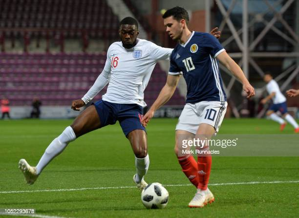 Lewis Morgan of Scotland U21 is challenged by Fikayo Tomori of England U21 during the 2019 UEFA European Under21 Championship Qualifier match between...