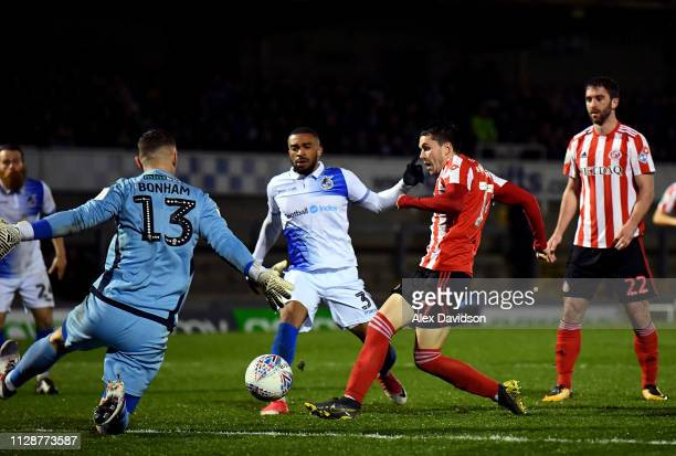 Lewis Morgan of Sunderland beats Jack Bonham of Bristol Rovers to score his sides second goal during the Checkatrade Trophy Semi Final match between...