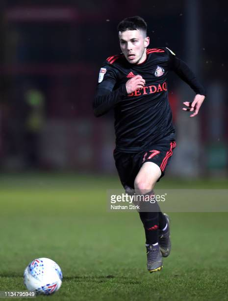 Lewis Morgan of Sunderland in action during the Sky Bet League One match between Accrington Stanley and Sunderland at The Crown Ground on April 03,...