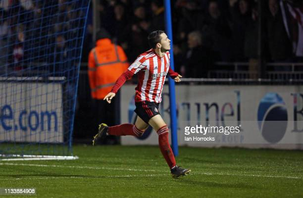Lewis Morgan of Sunderland runs to celebrate the second goal during the Checkatrade Trophy Semi Final between Bristol Rovers and Sunderland AFC at...