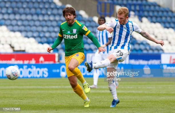 Lewis O'Brien of Huddersfield Town shoots during the Sky Bet Championship match between Huddersfield Town and Preston North End at John Smith's...