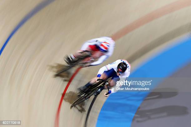 Lewis Oliva and Jack Carlin both of Great Britain compete in the Men's Sprint 1/8 Finals during the Tissot UCI Track Cycling World Cup 20162017 held...