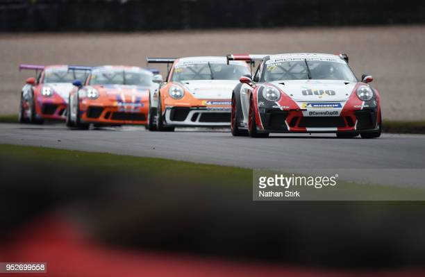 Lewis Plato of JTR drives in the Porsche Carrera Cup at Donington Park on April 29 2018 in Castle Donington England