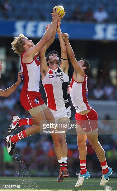 Lewis Roberts-Thompson of the Sydney Swans marks the ball during the round two AFL NAB Cup match between the St Kilda Saints and the Sydney Swans at...