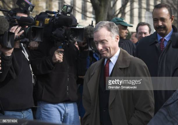 I Lewis 'Scooter' Libby and his lawyer Theodore V Wells Jr leaves US District Court February 3 2006 in Washington DC Fitzgerald arrived for a hearing...