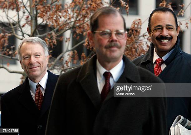 Lewis Scooter Libby former Chief of Staff to Vice President Dick Cheney arrives with his attorneys Theodore Wells and William Jeffress Jr at the...