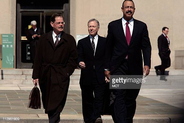 Lewis 'Scooter' Libby leaves the US Federal Courthouse with lawyers Theodore Wells and William Jeffress Jr in Washington March 6 2007 Libby a former...