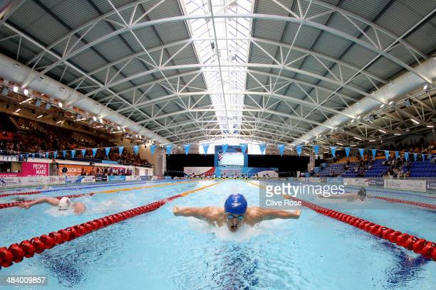 Lewis Smith competes in the Men's 400m Individual Medley heats on day two of the British Gas Swimming Championships 2014 at Tollcross International...