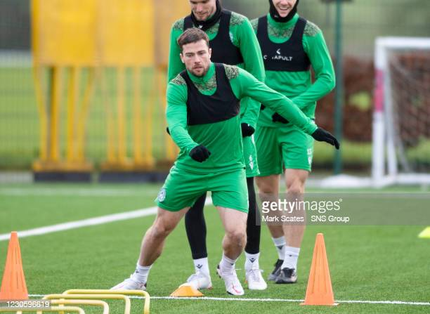 Lewis Stevenson during a Hibernian training session at the Hibernian Training Centre on January 15 in Edinburgh, Scotland.