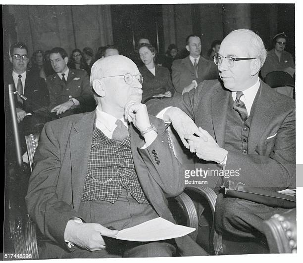 Lewis Strauss, , Chairman of the Atomic Energy Commission, sits talking with Senator Ralph E. Flanders, , during hearings conducted by a special...