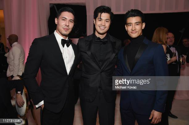 Lewis Tan Ross Butler and Alex Landi attend the 27th annual Elton John AIDS Foundation Academy Awards Viewing Party sponsored by IMDb and Neuro...