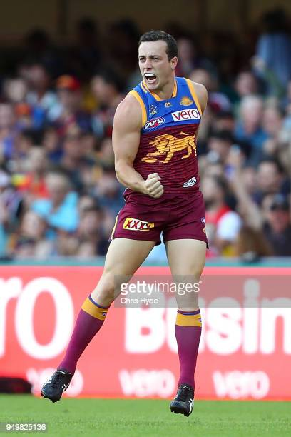 Lewis Taylor of the Lions celebrates a goal during the round five AFL match between the Brisbane Lions and the Gold Coast Suns at The Gabba on April...