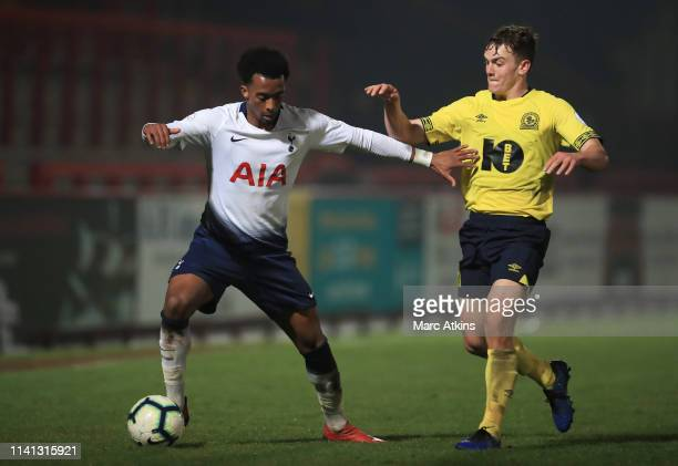 Lewis Thompson of Blackburn Rovers in action with Tashan Oakley-Boothe of Tottenham Hotspur during the Premier League 2 match between Tottenham...