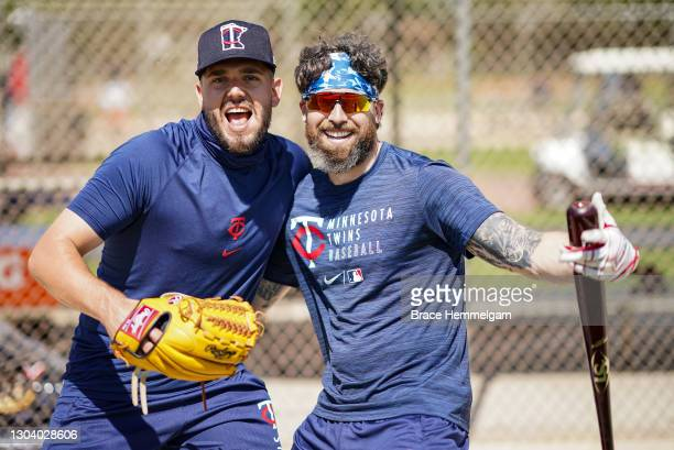 Lewis Thorpe of the Minnesota Twins poses for a photo with Jake Cave during a team workout on February 22, 2021 at the Hammond Stadium in Fort Myers,...