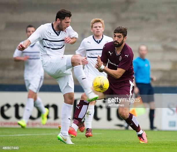Lewis Toshney of Raith Rovers gets better of Juanma Delgado of Hearts during the Pre Season Friendly between Raith Rovers and Hearts at Starks Park...