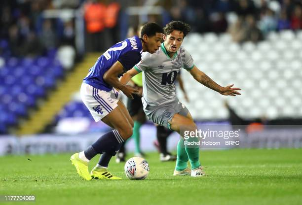 Lewis Travis of Blackburn Rovers' and Jude Bellingham of Birmingham City during the Sky Bet Championship match between Birmingham City and Blackburn...