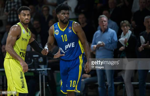 Lewis Trey of medi bayreuth and Massenat Frantz of EWE Baskets Oldenburg looks on during the easyCredit BBL match between medi bayreuth and EWE...